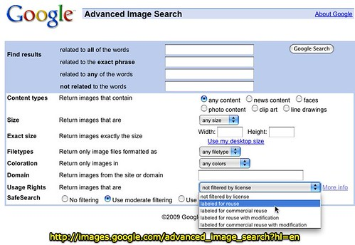 Google Advanced Image Search with Creative Commons Filtering