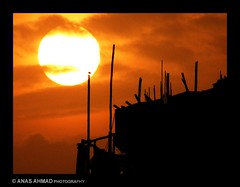 Sunset Over Under Construction Architecture - North Karachi (Anas Ahmad) Tags: travel pakistan sunset red art nature yellow dusk north karachi anas anasahmad anasahmadphotography
