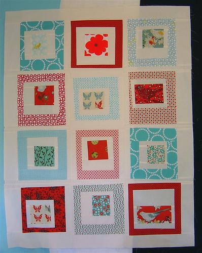 Red & Aqua Quilt top