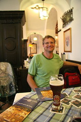 Schiender Beer House, Munich. A very happy man.