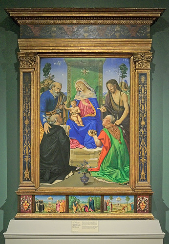 Tempera and oil on panel, Madonna and Child Enthroned with Sts. Peter, John the Baptist, Dominic, and Nicholas of Bari, by Piero di Cosimo, ca. 1481-1485, at the Saint Louis Art Museum, in Saint Louis, Missouri, USA