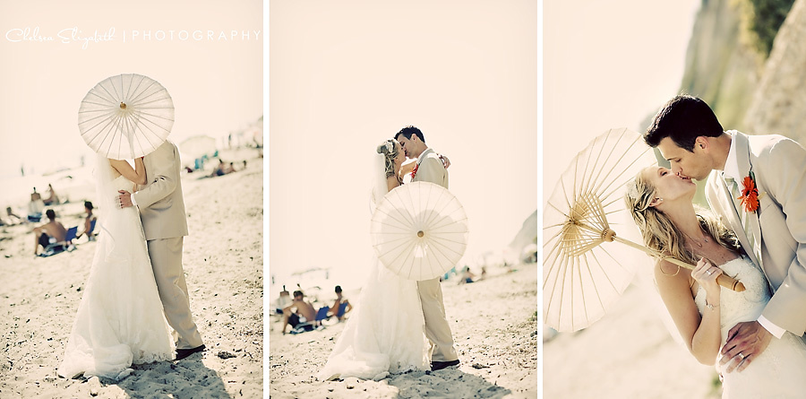 Henry's Beach Santa Barbara vintage bride and groom portraits on the beach with umbrella parasol