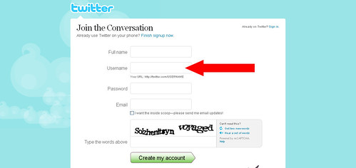 Twitter - Create an Account username