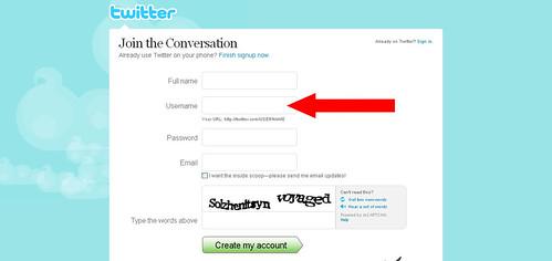 Twitter - Create an Account username