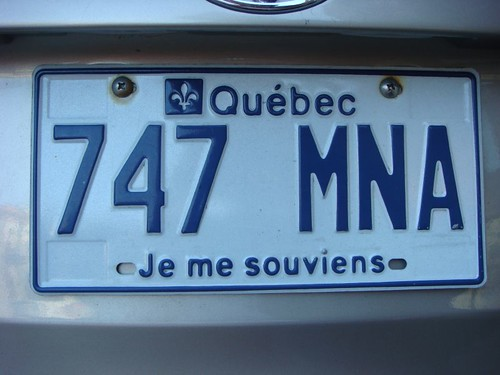 Licence plate, Quebec, Canada.