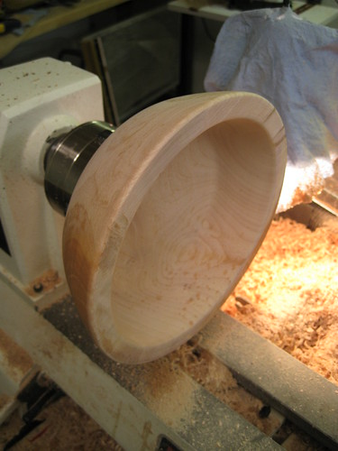 Jacaranda bowl rough on lathe