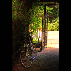 Auberge de l'Amour (genevieve van doren) Tags: road wood plants green hotel gate iron bicycles route porte hdr bois verdure fer plantes auberge vlos wrought forg