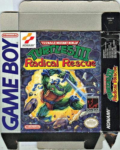 "Konami  ""Teenage Mutant Ninja Turtles III - Radical Rescue "" { Game Boy } box i ..art by  X (( 1993 ))"