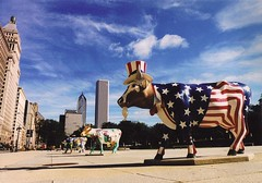 Cows on Parade - Chicago 1999 (Ted & John Koston) Tags: street plaza sculpture usa streetart chicago building art architecture illinois midwest skyscrapers cows flag 1999 il publicart bovine usflag unclesam koston cowsonparade placeduchicago