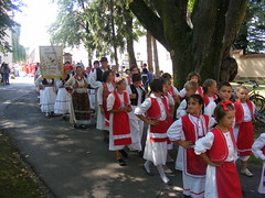Religious Procession - Sveti Lovro - St. Lawrence Day celebrations in Petrinja Croatia - Aug 10th 2009 (seanfderry-studenna) Tags: people male men public saint st female feast religious march town lawrence women catholic dress candid centre traditional crowd croatia august flags parade christian 10th procession dat balkans banners 2009 sv cultural croatian postwar hrvatska balkan croat sveti tenth lovro petrinja petrinjska petrinia petrinjski 53nja petrinjsko