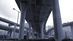 Hong Kong - Tsing Kwai Highway (cnmark) Tags: china road blue bw white black geotagged hongkong highway traffic overpass junction hong kong  elevated  tone schwarz chung tsing kwai weis allrightsreserved kwaitsingroad geo:lat=22352507 geo:lon=114120022
