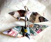 """ Old School "" Peace Crane Origami Permanent Ornament"
