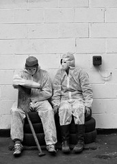 Divided bank robbery (austenblakemorephotography) Tags: nottingham blackandwhite scary dummies masks horror divided stig spade longeaton bankrobbery bankjob dividedfilm sinworks kellygouldie benchatsworthy kellygoudie