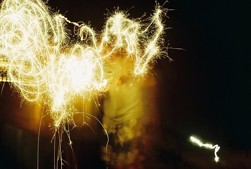 playing with sparklers.