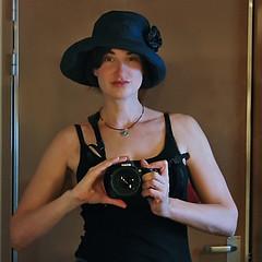 new hat! (Pffft) Tags: woman selfportrait me girl hat nikon bluehat mirrorselfportrait nikond80