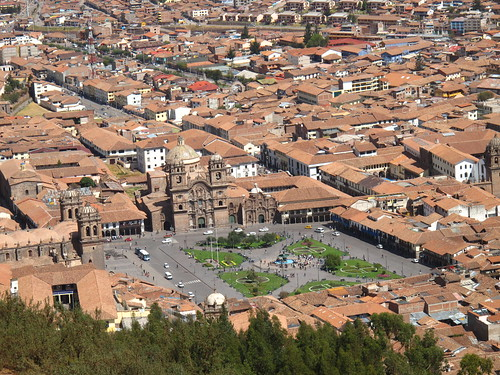 Looking down on the Plaza de Armas from Sacsayhuaman