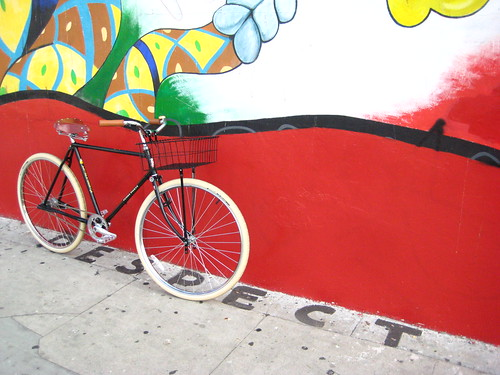 Flying Pigeon Racer 3-Speed leaning against La Abeja in Cypress Park, CA.