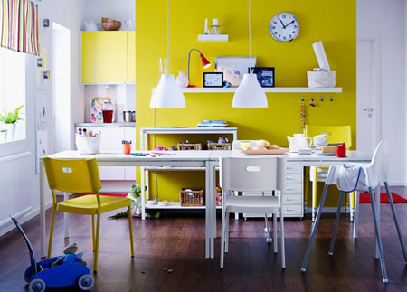 Dining Room and Kitchen Designs - yellow, Dining Room, Kitchen, Interior design