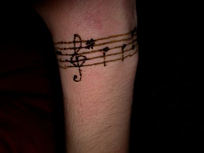 henna tattoo-original music notes pattern for wrist or arm