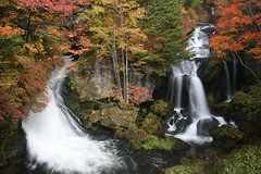 Ryuzu Falls in Autumn (AJ Brustein) Tags: autumn red orange green fall water colors yellow japan canon river aj waterfall scenery stream foliage  nikko  tochigi converge taki 30d   brustein ryuzu