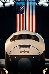 To Boldly Go... (wbeem) Tags: camera usa industry museum lens virginia nikon day technology place time flag fineart indoor william science transportation shuttle northamerica subject symbols enterprise setting incandescent description spacecraft chantilly oldglory starsstripes beem 70200mmf28gvr smithsoniannationalairspacemuseum nikonnikkor lightingconditions imagetype photospecs d700 wbeem stephenfudzarhazycenter williambeem