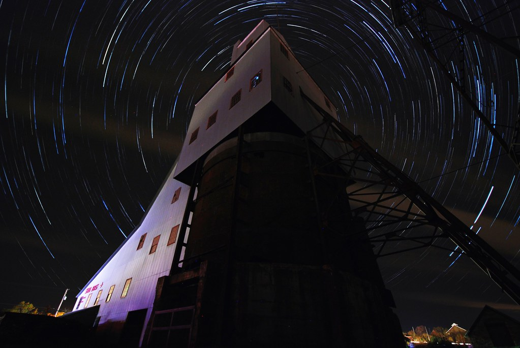 Circular star trails with the Quincy Number 2 shaft house in the center.