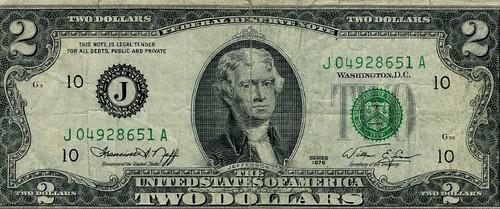 Amerikaans 2 dollarbiljet