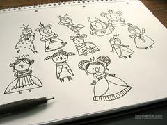 little princesses with huge noses (bengi gencer) Tags: illustration sisters pen nose royal sketchbook doodle princes characterdesign characterillustration
