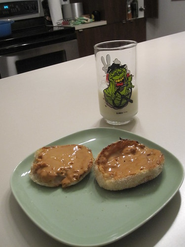 English muffin with PB, milk
