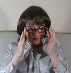 Grey satin 4 (Lesley Davidson) Tags: portrait me grey glasses scotland eyes hand lips transgender bow transvestite satin crossdresser