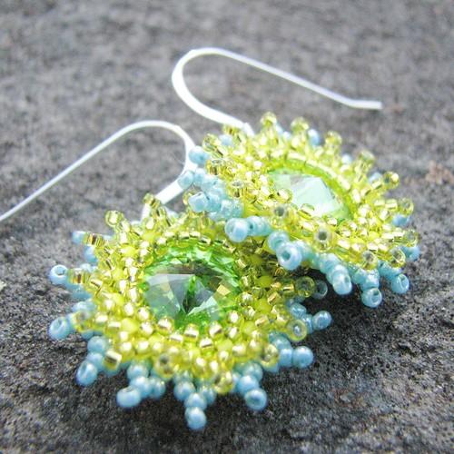 Small Blue Lotus Earrings