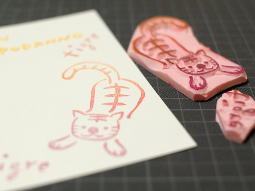 Hand carved stamp for new year card