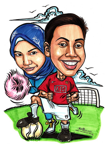 Couple caricatures - Man-U soccer player & cheerlady A4
