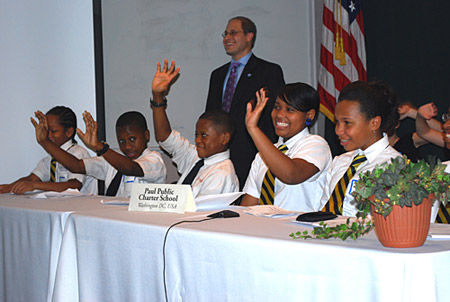 Washington, D.C. Paul Public Charter School  Middle School Students Engaged at Climate Change Video Conference