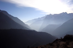 Looking from Phortse towards Namche Bazaar