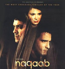 [Poster for Naqaab with Naqaab, Akshaye Khanna, Bobby Deol, Urvashi Sharma, Abbas, Mustan]