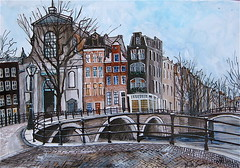 Amsterdam Princengracht (mark christian soetebier) Tags: holland art water netherlands amsterdam watercolor painting photo europa strada artist arte photos mark fine vincent arts nederland thenetherlands ponte canvas sensational prinsengracht firstplace brug kerk vangogh impressionist oude paesaggio olanda noordholland waterland rhijnauwen vecchio amstedam noord artisti quadri lavoro krommerijn particolare aquarell seerose pittura impressionismo premi blueribbonwinner fineartphoto dutchmasters impressionisti pittor