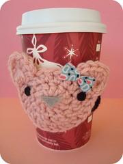 Pink Bear Cozy! (seesuestitch) Tags: bear cute cozy handmade picnik crochetcozy cutecozy bearcozy
