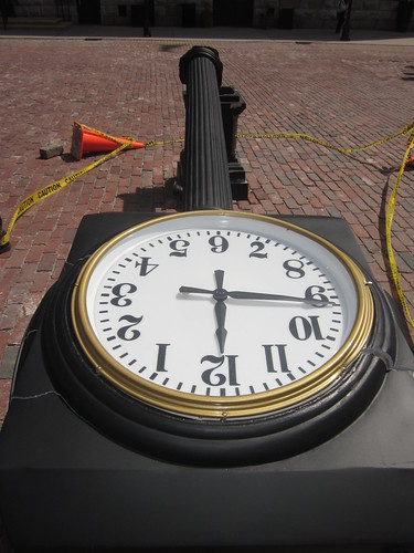 the custom made clock in the distillery district gets a kicking