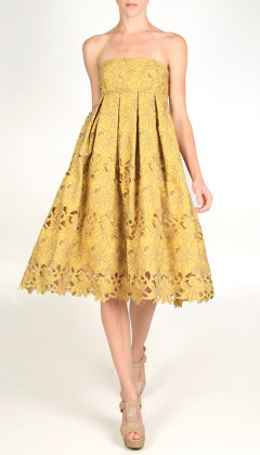 floral embroidery strapless dress