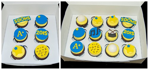 blue and yellow 8th grade graduation cupcakes