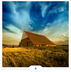 Glorifying Barn (Gert van Duinen) Tags: sky barn landscape colorful wheat digitalart landschaft landschap dutchartist landschaftsaufnahme vertorama gertvanduinen obramaestra explore10on20090718