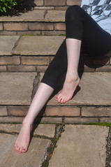 Barefoot On The Steps (Artistic Feet) Tags: summer woman colour art feet girl female pose photography toes legs skin nail polish pale nails barefoot heels soles ankles varnish