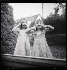 little monsters ; ) (Paul Petruck) Tags: bw film kids mediumformat fun blacknwhite pentaconsix seenintheinterestingnessarchives