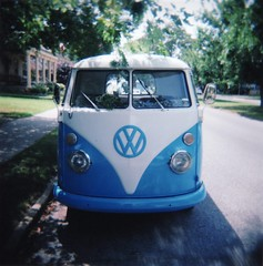 VW (.michael.newman.) Tags: blue bus classic 120 vw truck volkswagen holga lomo headlights delaware rehoboth wipers rehobothbeach type2