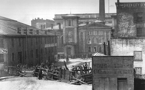 Weaver Alley Barricade looking South East to Plum Street and the City Jail in Cincinnati, March of 1884.