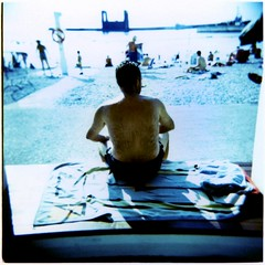 Un uomo solo (ale2000) Tags: sea summer vacation people hairy sun man 6x6 beach mediumformat naked square seaside holga xpro furry mare alone estate cross crossprocess sunny uomo solo photowalk lonely process agfa vignetting bagno spiaggia trieste