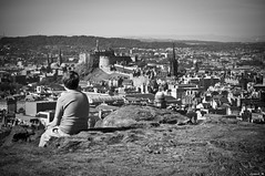 Taking in the view (Grant_R) Tags: city urban blackandwhite bw monochrome landscape scotland nikon edinburgh cityscape edinburghcastle vignette salisburycrags d90 edinburghcity nikond90 edinburghcitycentre grantr