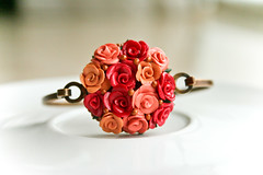 romance bracelet (Chili Crab) Tags: red roses gold one chili handmade ooak peach salmon crab jewelry fimo clay bracelet romantic etsy elegant brass 2009 sculpted polymer bej