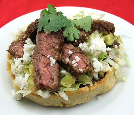 Sopes with Black Beans and Skirt Steak